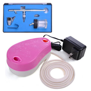 0.35mm Dual-Action Airbrush Pink Air Compressor Kit w/ Bottle