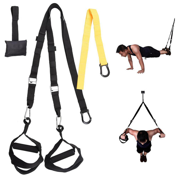 Body Fitness Suspension Trainer Home Exercise Bands Yellow