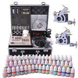 2-Gun Pro Complete Tattoo Machine Kit w/ Case 54Ink