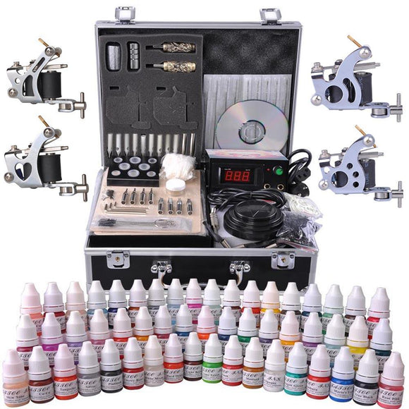 4 Guns Tattoo Machine Complete Kit w/ Case 54Ink