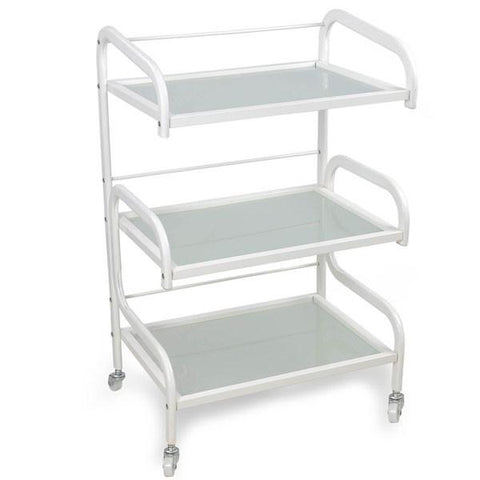 3-Tier Glass Top Salon Rolling Storage Trolley Cart