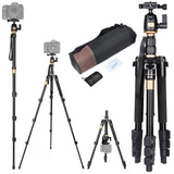 "60.6"" 3-Section Aluminum Travel Camera Tripod Monopod w/ Ball Head"