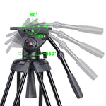 "70.8"" 3-Stage Aluminum Video Tripod Fluid Pan Head"