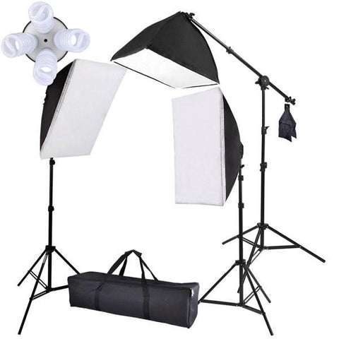 8x 45W Photo Soft Box Continuous Lighting Boom Stand Kit