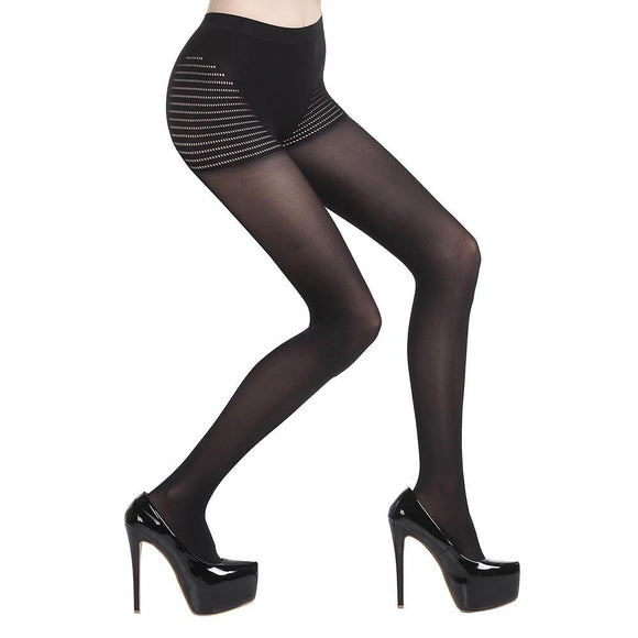 80D Women Hosiery Control Top Silky Tights Pantyhose Black