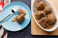 Giant Swedish Meatballs with Peppercorn Sauce