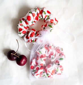 100% Pure Mulberry Silk Hair Scrunchie - Sweet Cherries
