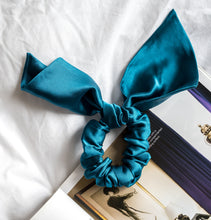 Load image into Gallery viewer, 100% Pure Mulberry Silk Hair Scrunchies with Bunny Ears (More colours available)