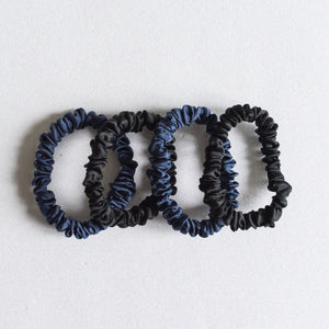 100% Pure Mulberry Silk Hair Scrunchies - Black & Navy