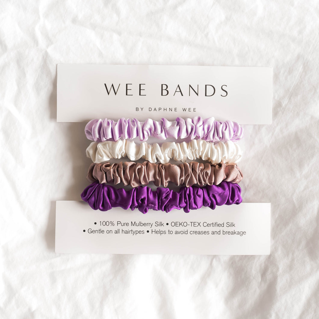100% Pure Mulberry Silk Hair Scrunchies - Purple Collection