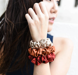 100% Pure Mulberry Silk Scrunchies - The Prosperity Collection