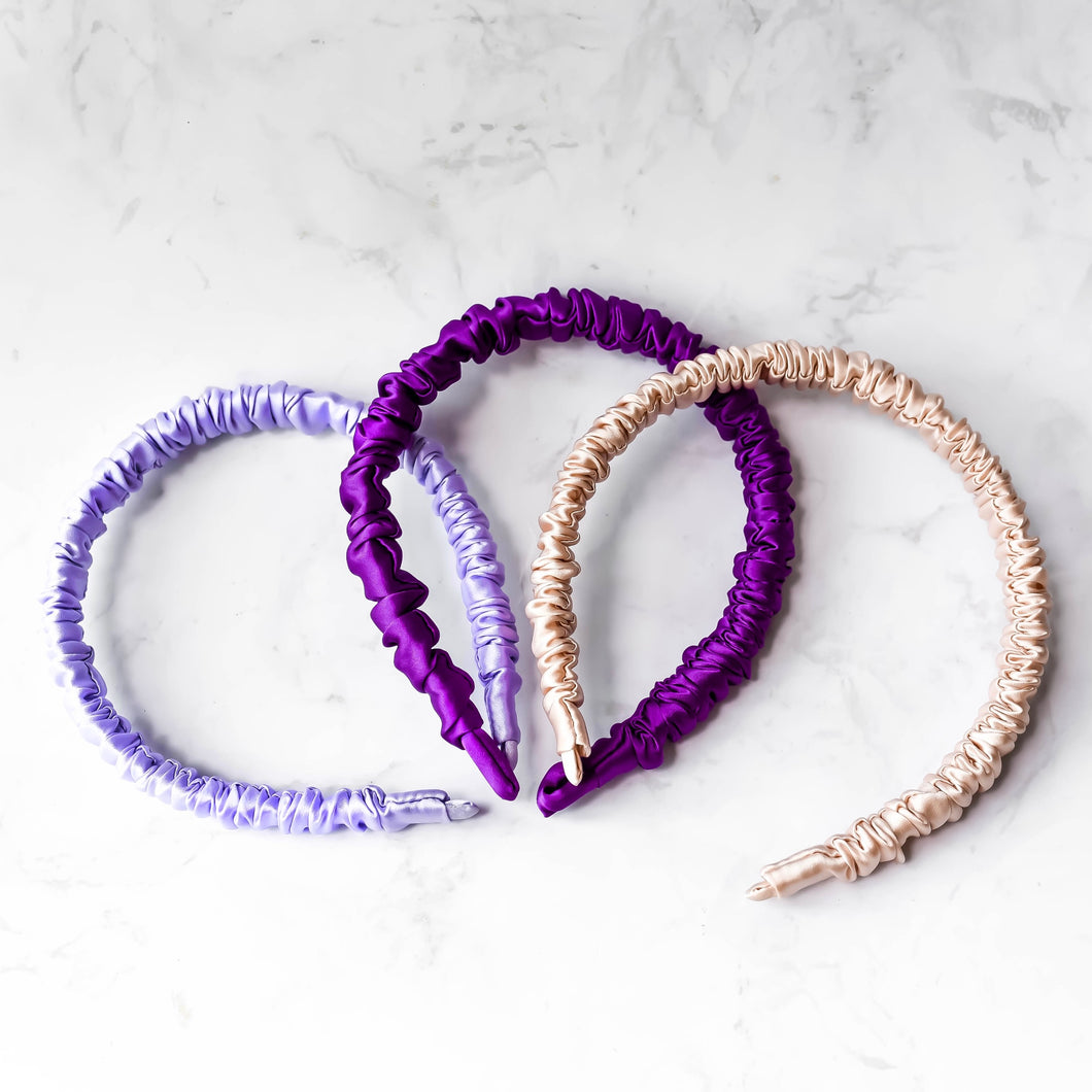 100% Pure Mulberry Silk Hairbands - Lavender Fields