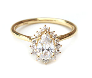 14K Yellow Gold Vintage Inspired Pear Halo Engagement Ring