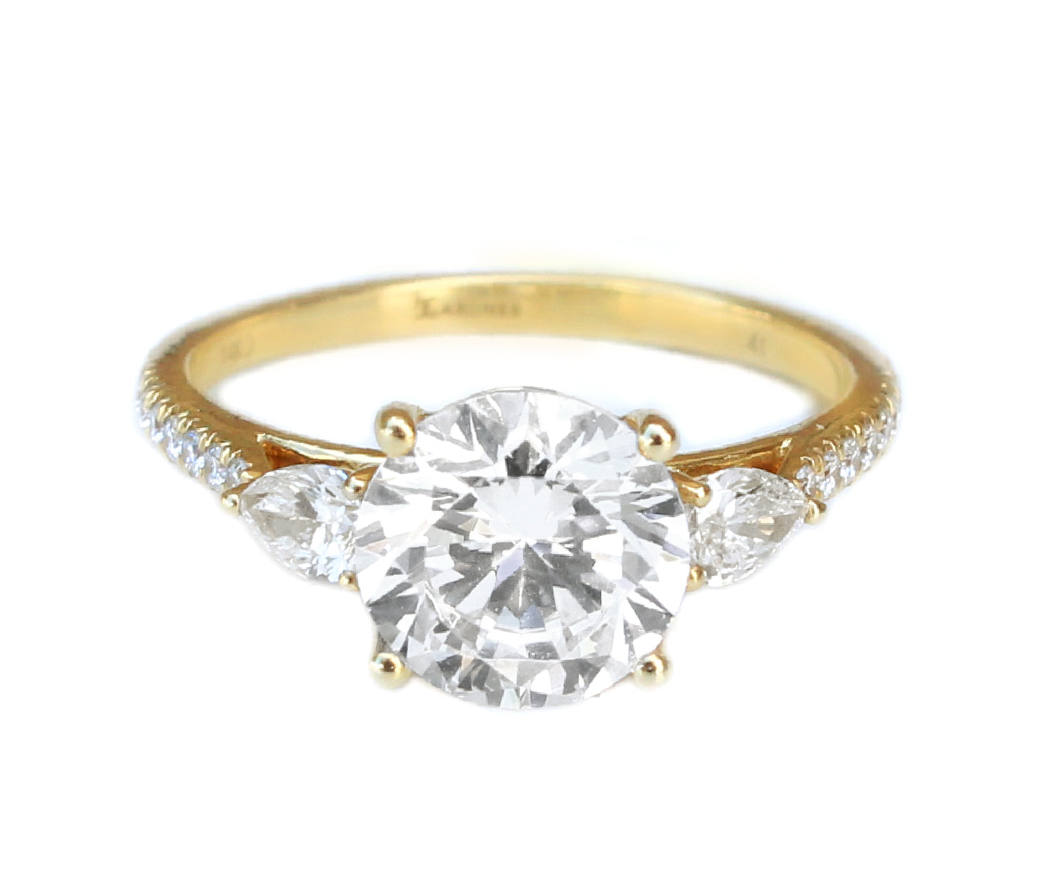 14K Yellow Gold Classic Three-Stone Engagement Ring