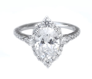 14K White Gold Vintage Inspired Oval Halo Engagement Ring