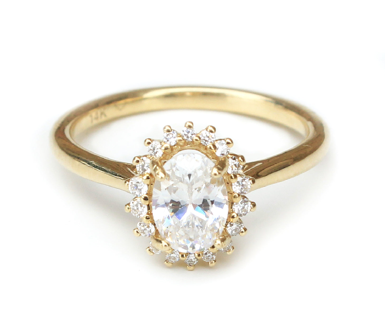 14K Yellow Gold Oval Halo Vintage Inspired Engagement Ring