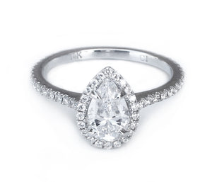 14K White Gold Pear Halo Engagement Ring