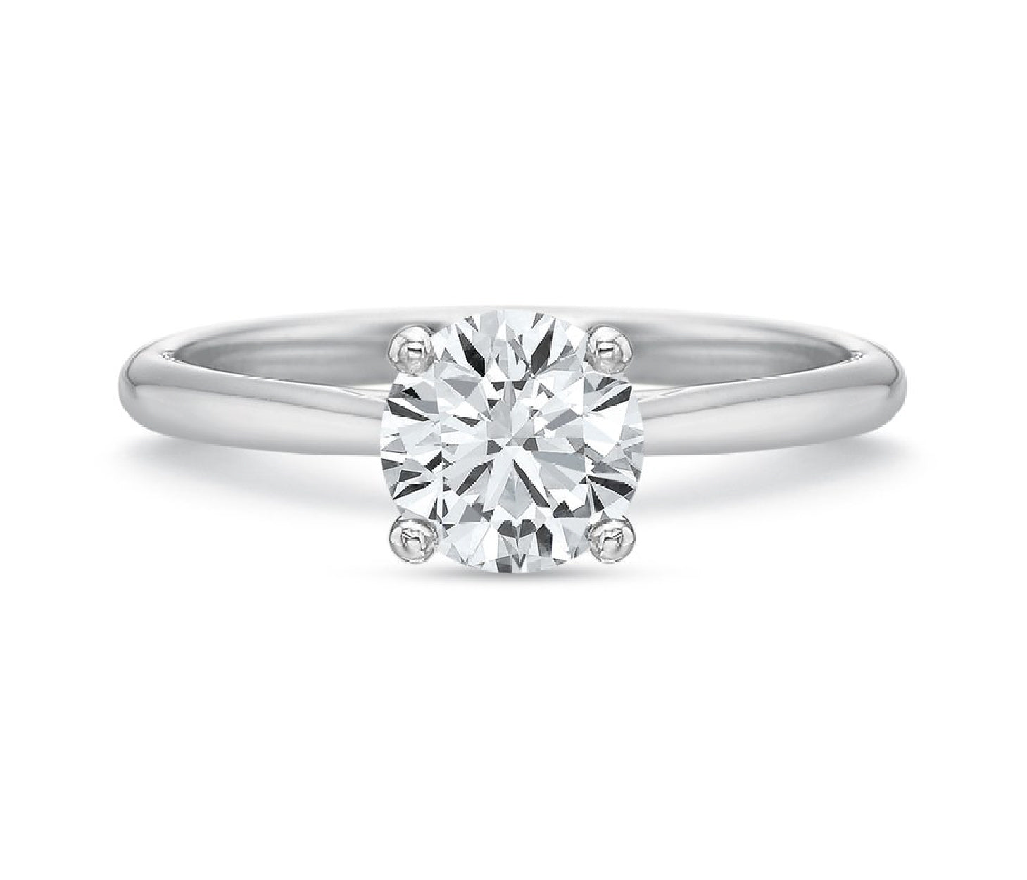 14K White Gold Classic Four Prong Engagement Ring