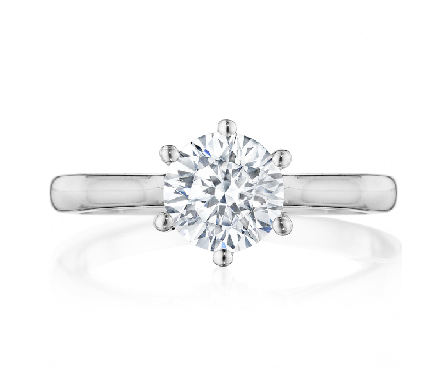 14K White Gold Classic Six Prong Engagement Ring