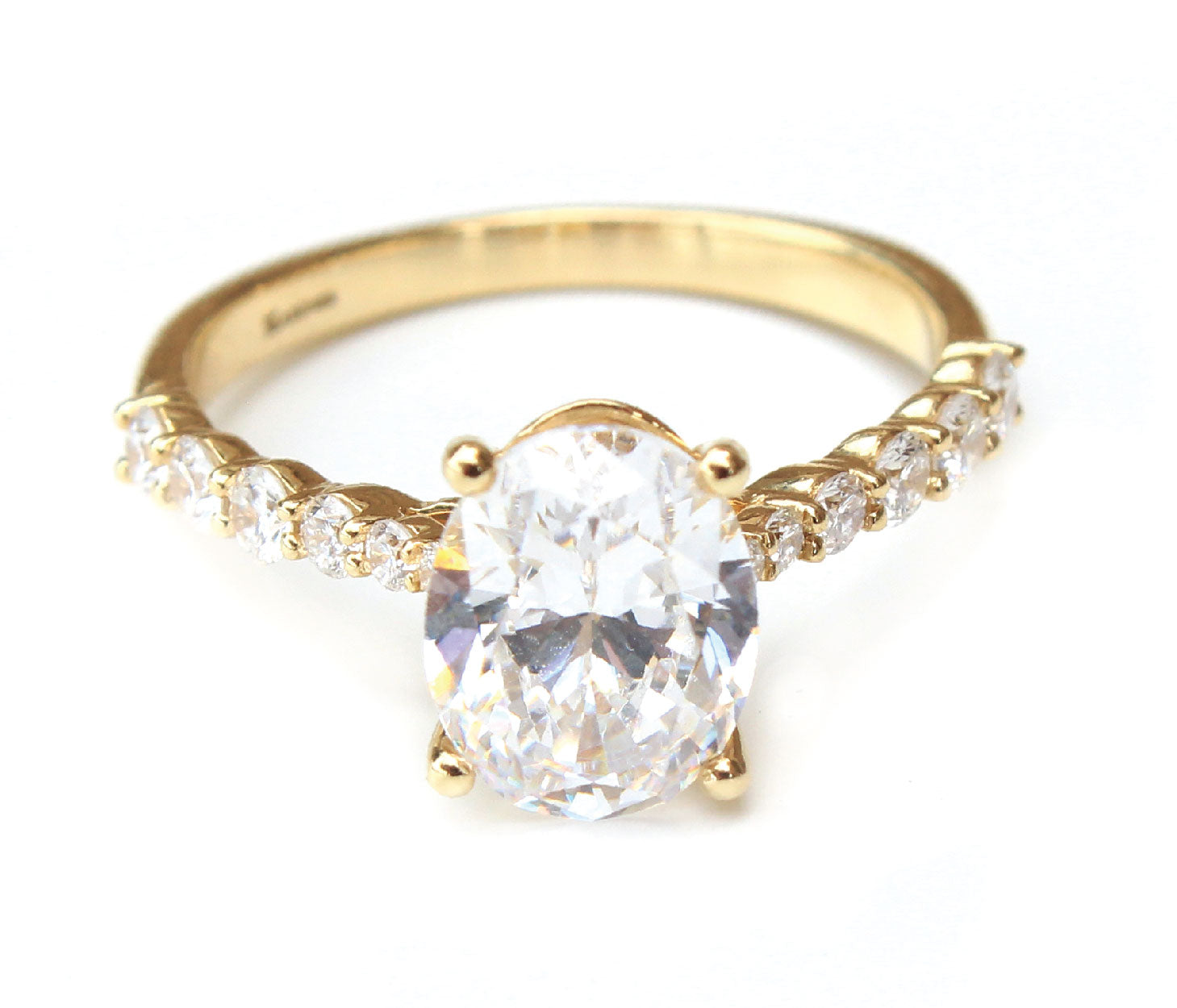 14K Yellow Gold Classic Oval Engagement Ring with Diamond Band