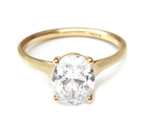 14K Yellow Gold Classic Oval Solitaire Engagement Ring