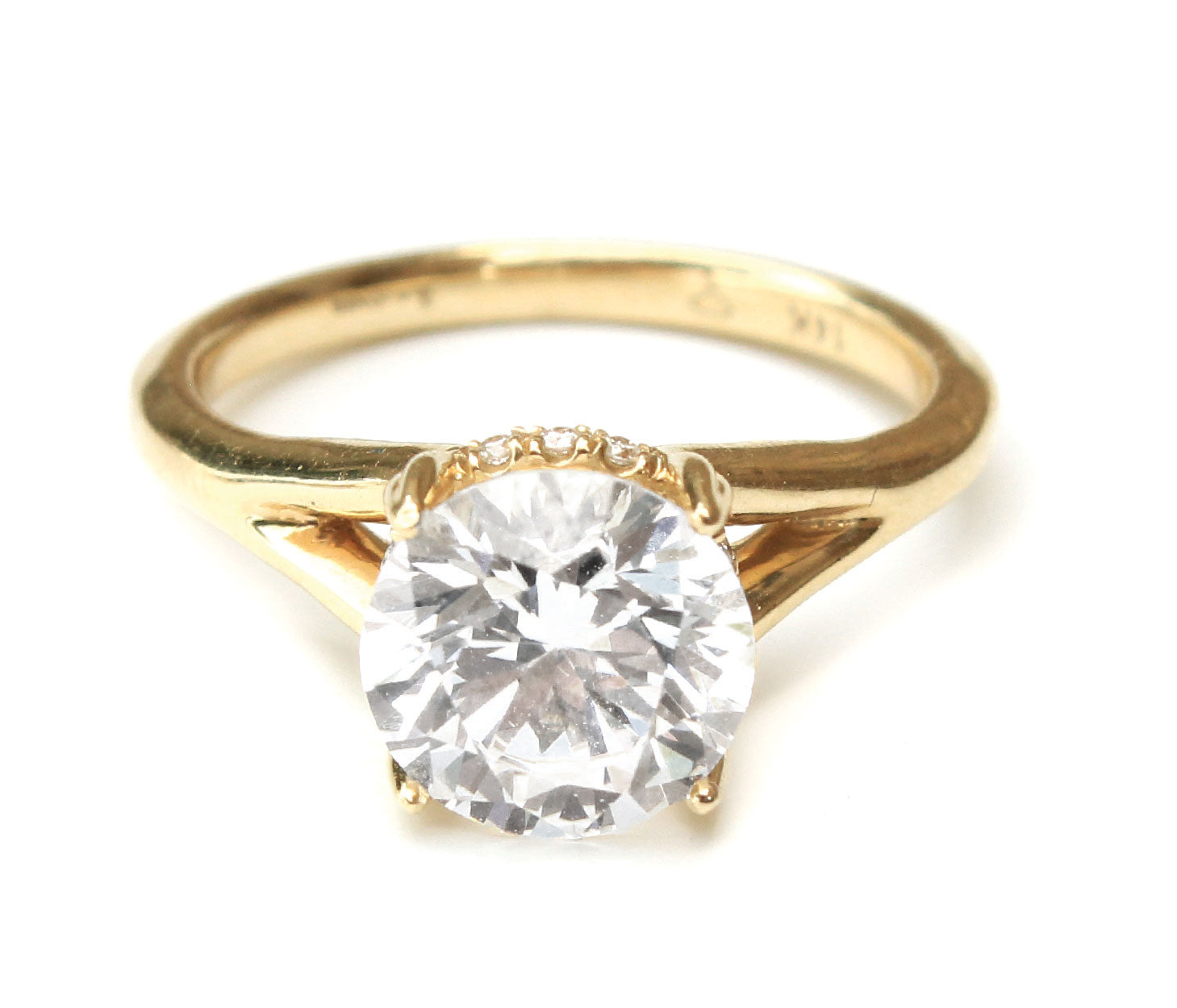 14K Yellow Gold Classic Split Shank Engagement Ring