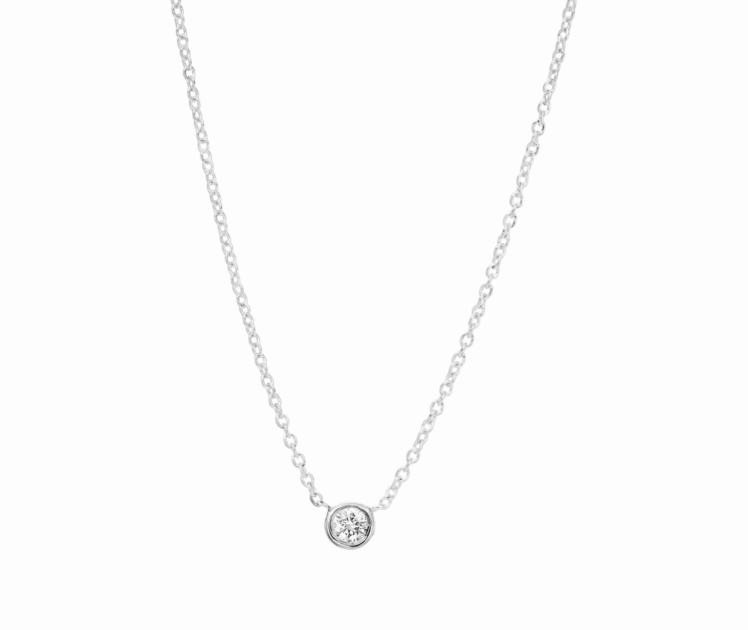 Single .10 ct Diamond Bezel Necklace designed by David Gardner, 18K white gold