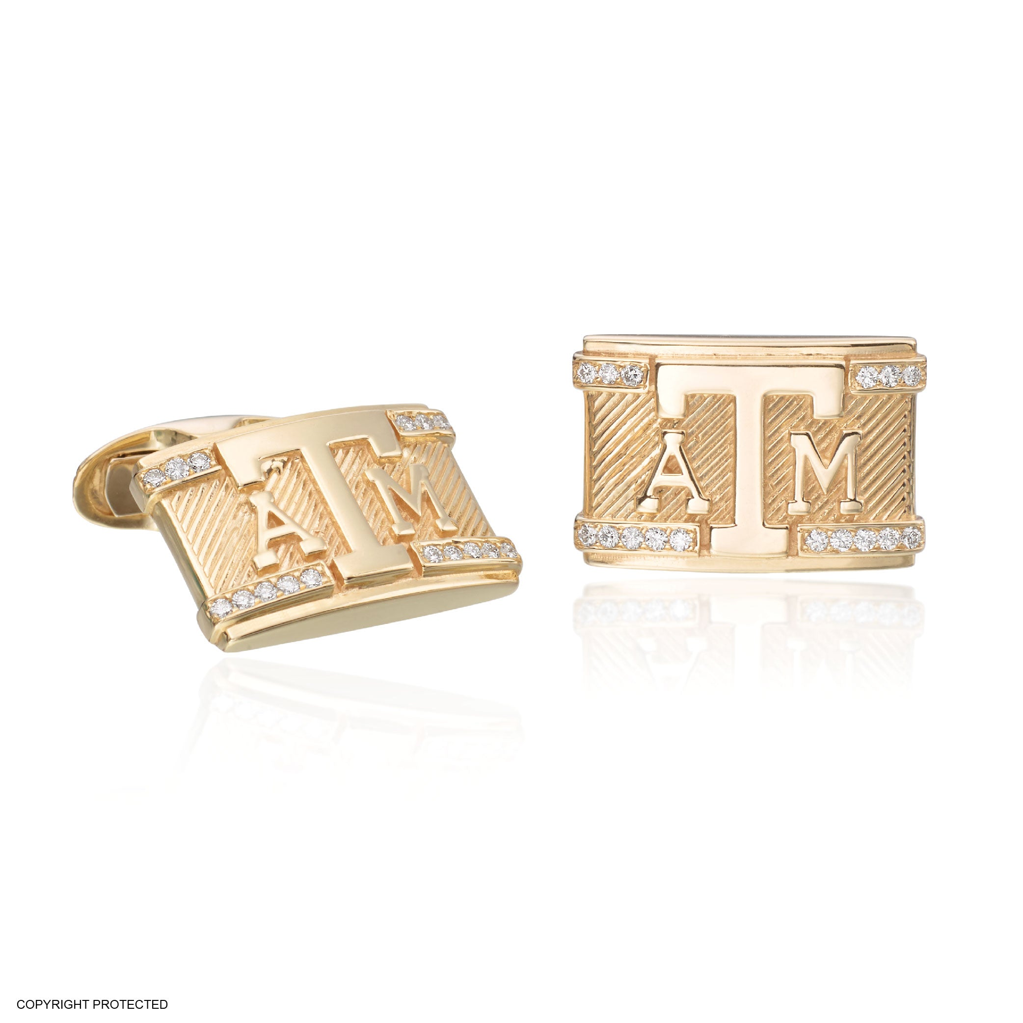 18K Yellow Gold Texas A&M Cuff Links with Diamond Border