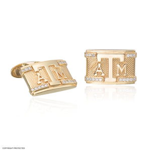 14K Yellow Gold Texas A&M Cuff Links with Diamond Border