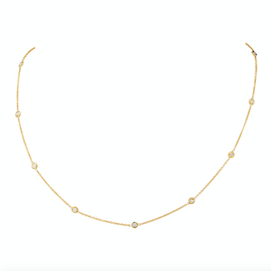 Diamond Station Necklace in 14k yellow gold, .30ctw