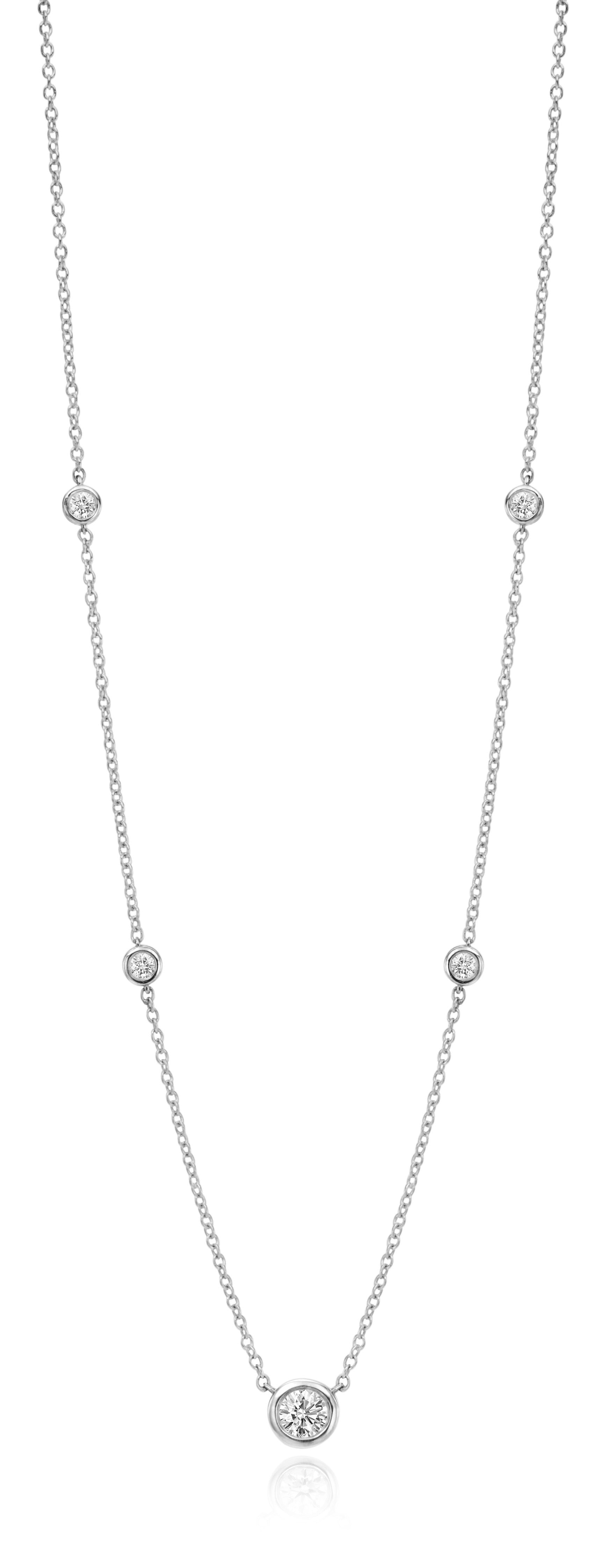 5 Diamond Graduated Station Necklace designed by David Gardner, 18K white gold