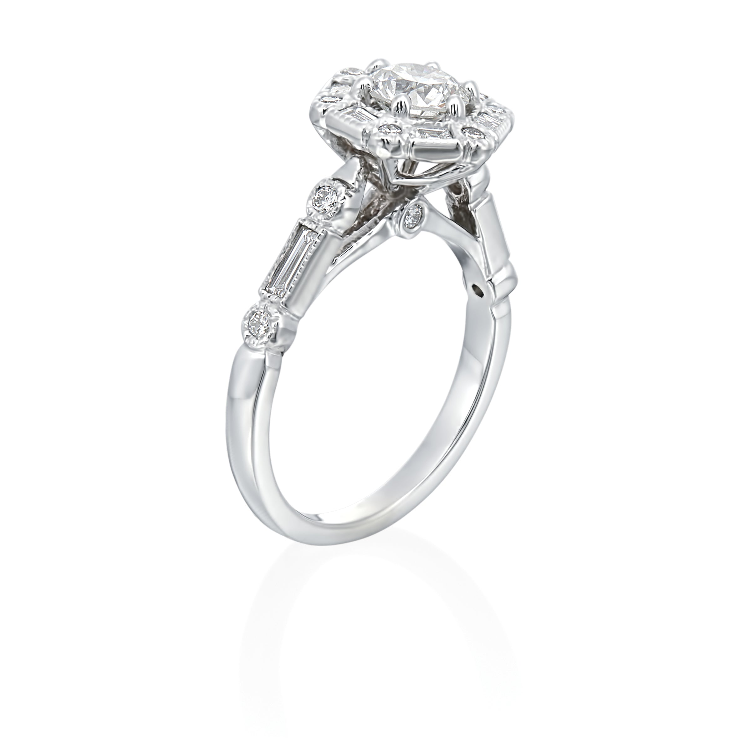 14K White Gold Vintage Inspired Hexagon Halo Engagement Ring