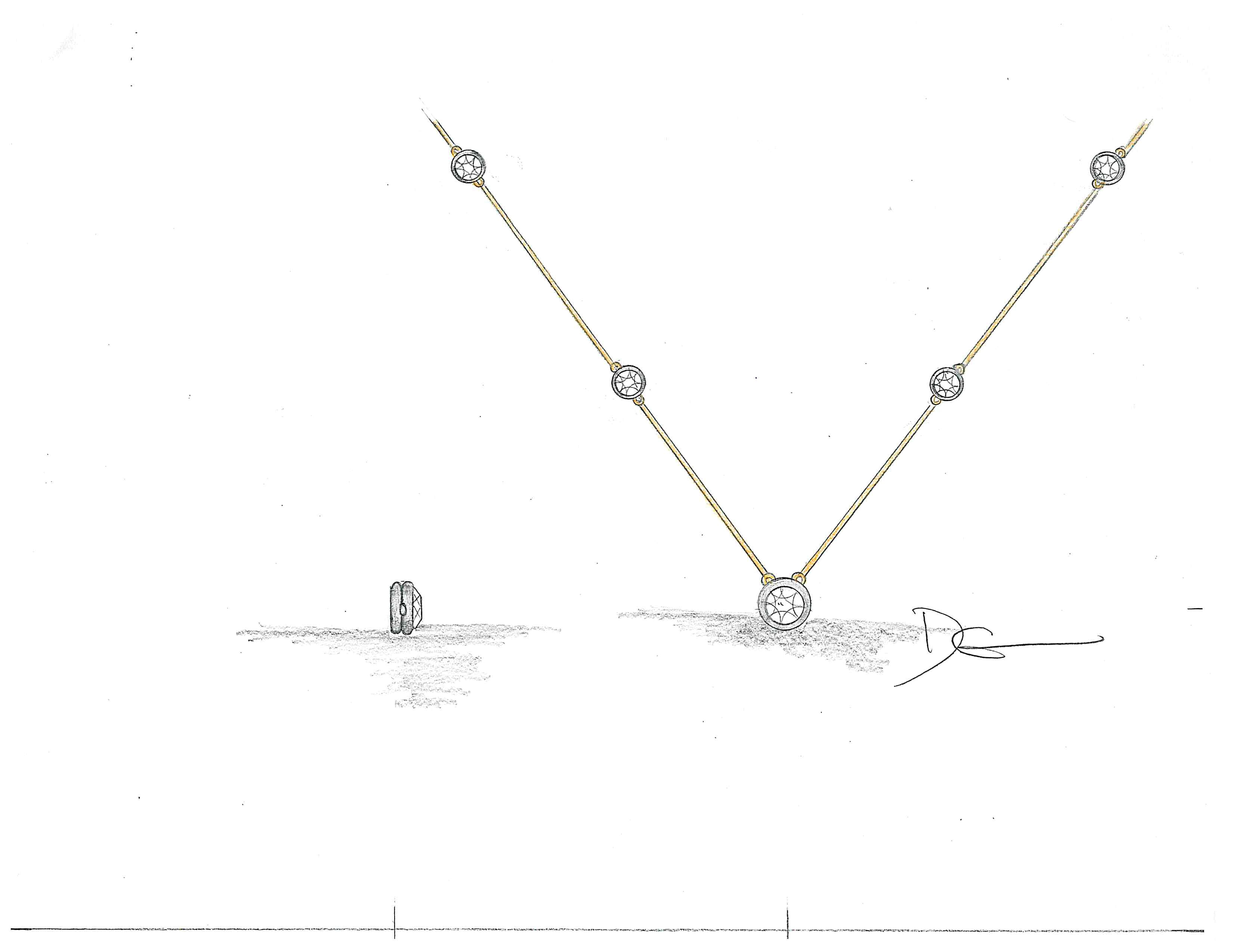 5 Diamond Graduated Station Necklace designed by David Gardner, 18K yellow gold