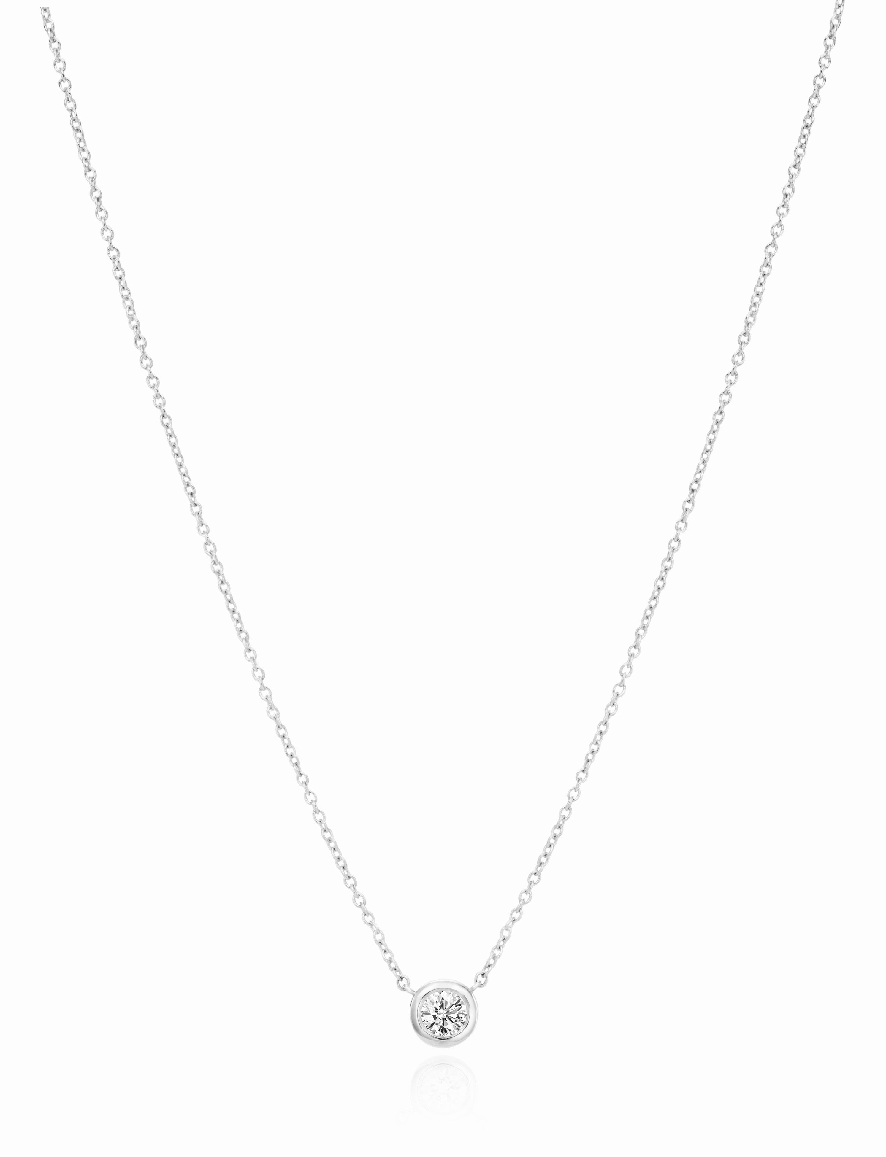 Single .30 ct Diamond Bezel Necklace designed by David Gardner, 18K white gold