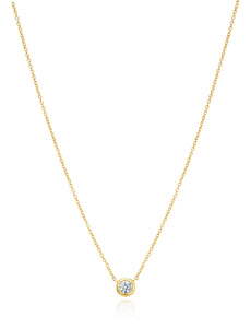 Single .20 ct Diamond Bezel Necklace designed by David Gardner, 18K yellow gold