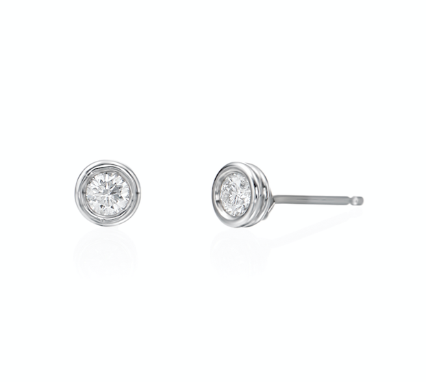 Bezel Set Diamond Studs in 18k white gold, .20 ctw