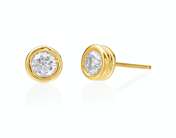 Bezel Set Diamond Studs in 18k yellow gold, .60 ctw