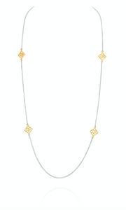 Texas A&M Station Chain by David Gardner, sterling silver and 18k yellow gold