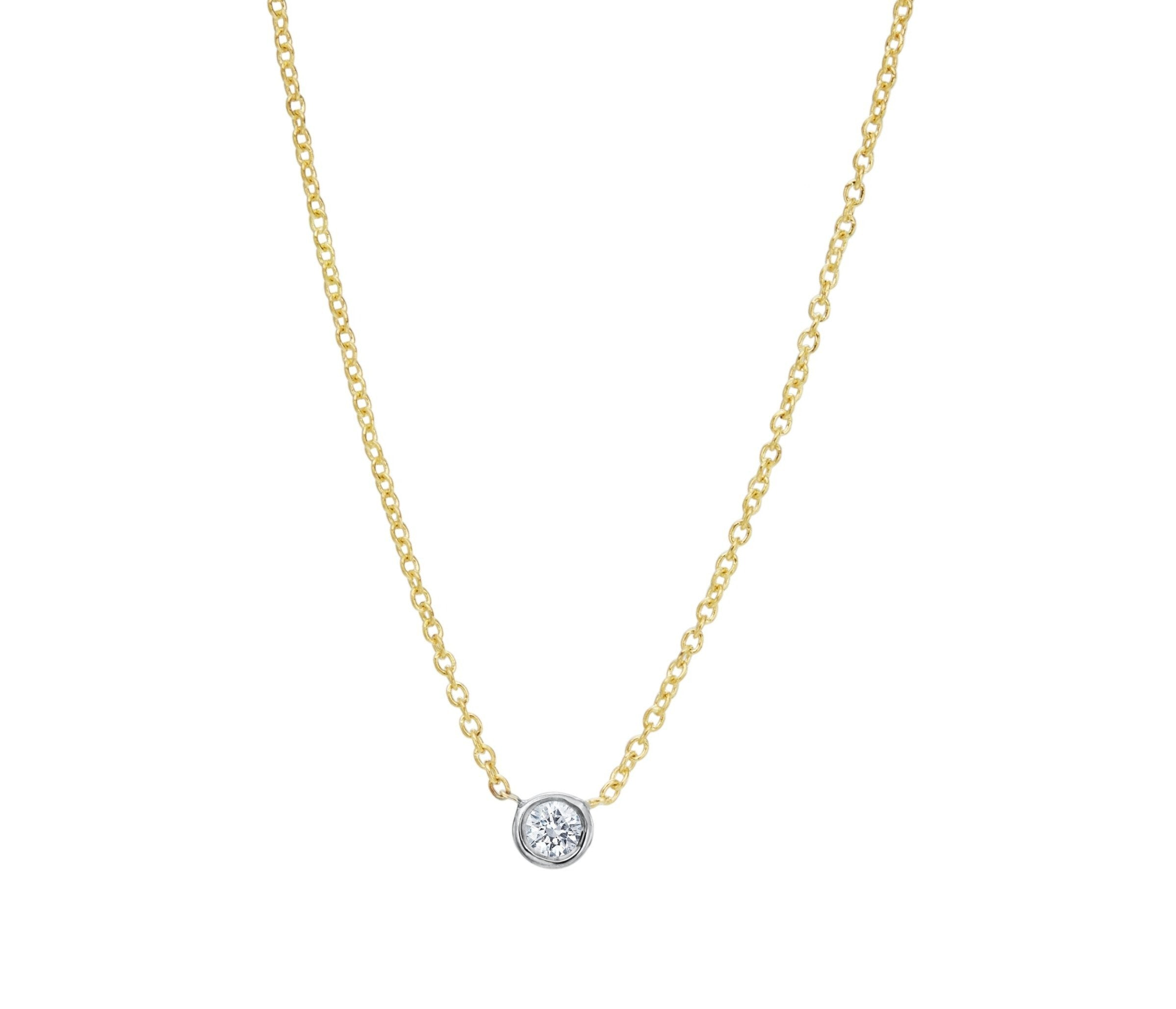 Single .10 ct Diamond Bezel Necklace designed by David Gardner, 18K yellow gold