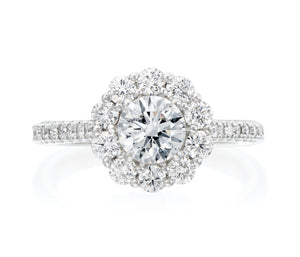 """The Stephanie Ring"" Round Halo Engagement Ring"