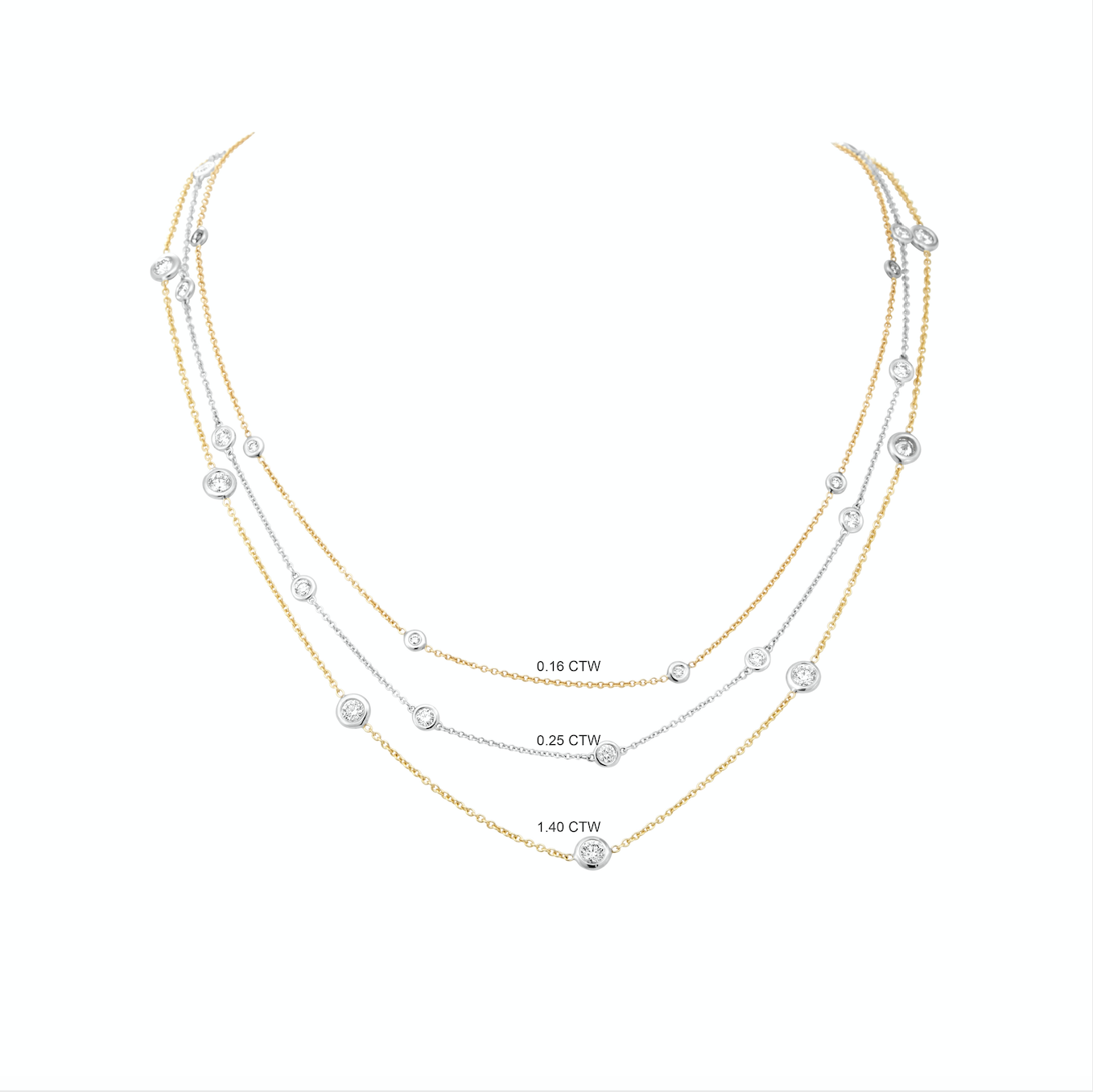 Diamond Station Necklace in 18k yellow and white gold, 1.40ctw