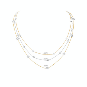 Diamond Station Necklace in 18k yellow and white gold, .16 ctw, Champagne & Chanel's Necklace