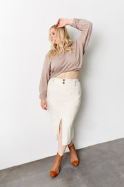 ALWAYS LOOK YOUR BEST Vanilla Linen Pencil Skirt