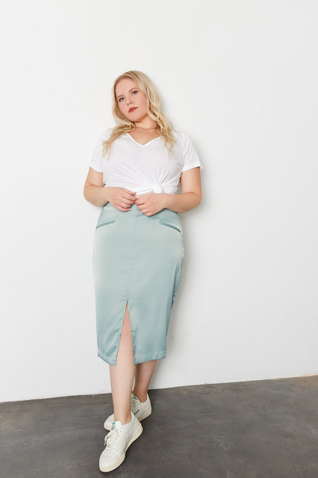 BE MORE LADY LIKE Matcha Satin Front Slit Pencil Skirt
