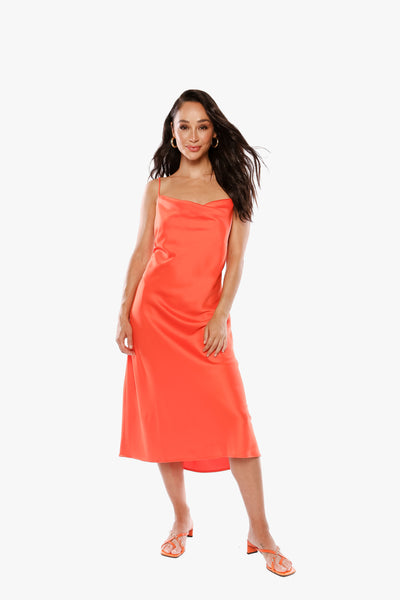 CAN YOU LIGHTEN UP Orange Satin Dress