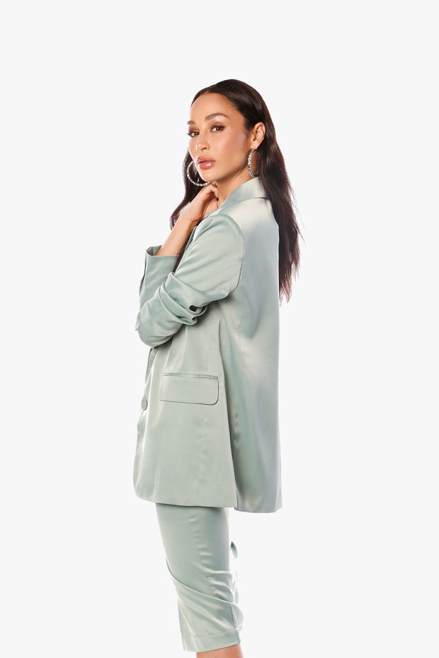 JUST POWER THROUGH Matcha Satin Oversized Blazer