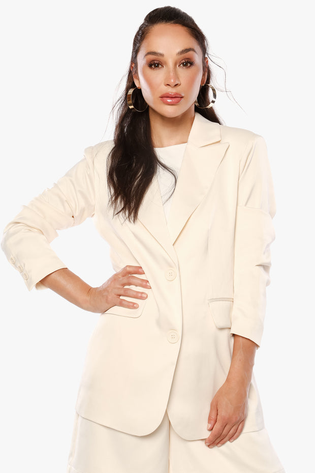 JUST POWER THROUGH Vanilla Satin Oversized Blazer