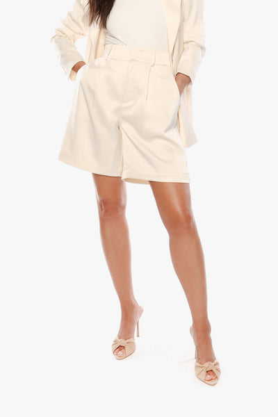 TOUGHEN UP Vanilla Satin Pleated Short