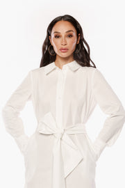 JUST RELAX White Poplin Shirt Dress