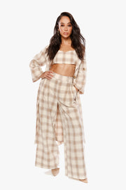 SHE LOVES THE ATTENTION Pleated Plaid Pants